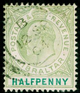 GIBRALTAR SG56, ½d dull & bright green, FINE USED, CDS.