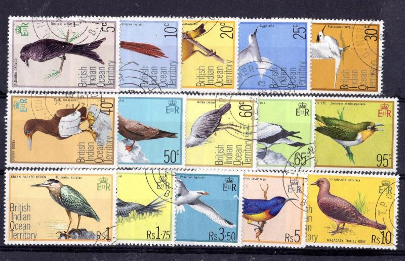 British Indian Ocean Territory 1975 Birds Set To Rs 10 SG62/76 VFU X6570