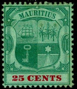 MAURITIUS SG151a, 25c green & carmine/green, M MINT. CHALKY