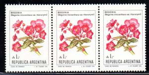 ARGENTINA 1524 MNH STRIP3 BIN $3.00 FLOWERS