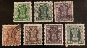 India Sccott#O212(4), O220(2), O224 F/VF Used  Cat. $1.70