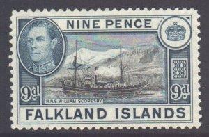 Falkland Islands Scott 90 - SG157, 1938 William Scoresby Ship 9d MH*
