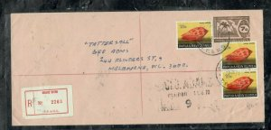 PAPUA NEW GUINEA COVER (PP0301B) 1973 7C PSE+10CX3 REG GOLDIE RIVER TO AUSTRALIA