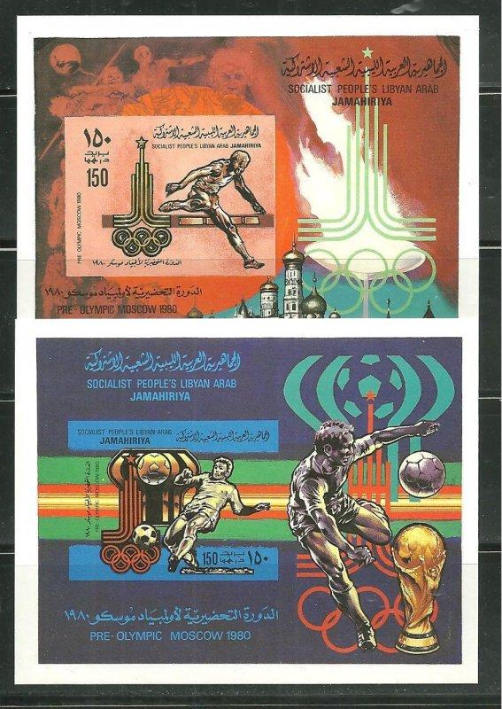 Libya MNH 2-S/S IMP. 846-7 Pre-Olympics Moscow 1980 SCV 90.00