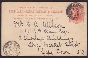 GB SCOTLAND 1899 1d postcard ABERDEEN to Cape town..........................6786