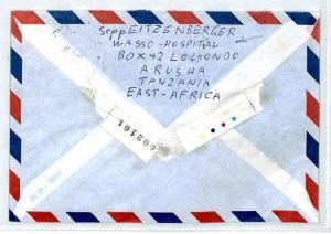 TANZANIA Cover Missionary Air Mail MIVA Note WASSO HOSPITAL Medical DOCTOR CM42