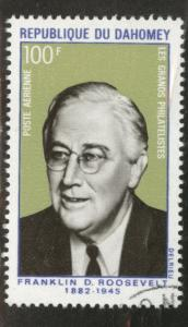 Dahomey Scott C116 used CTO 1970 Roosevelt stamp
