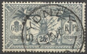NEW HEBRIDES 1912 Sc 24, Used  VF 20c Arms, SYDNEY cancel
