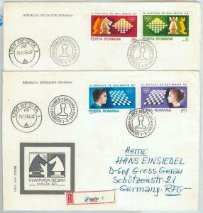 82756 - ROMANIA - Postal History -  2 FDC Covers CHESS World Championship 1980
