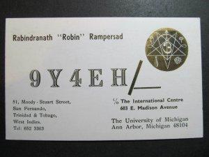 10357 Amateur Radio QSL Card 1973 TRINIDAD & TOBAGO WEST INDIES