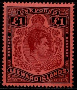 LEEWARD ISLANDS GVI SG114a, £1 purple & black/carmine, NH MINT. Cat £90.