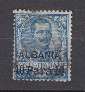 J28517 1902 italial italy office in albania used #3 ovpt,s king