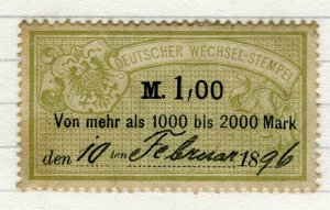 GERMANY; 1880s-90s classic early Bill Stamp fine used 1M. value