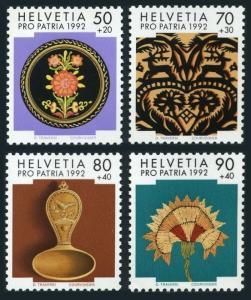 Switzerland B576-B579,B576a booklet,MNH.Mi 1470-1473. Pro Patria 1992.Folk Art.