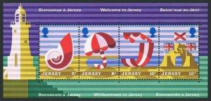 Jersey 127a sheet,MNH.Michel Bl.1. Tourism 1975.Shell,Lighthouse,Beach umbrella,