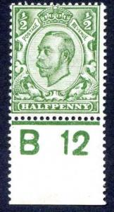 1/2d Green B12 Control mounted mint