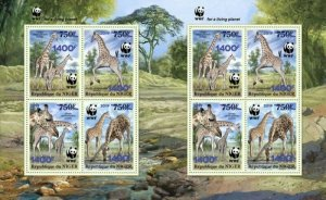 Niger - 2019 West African Giraffe & WWF Overprint - 8 Stamp Sheet - NIG190524e2