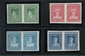 Newfoundland #245a - #248a Extra Fine Never Hinged Imperf Pair Set