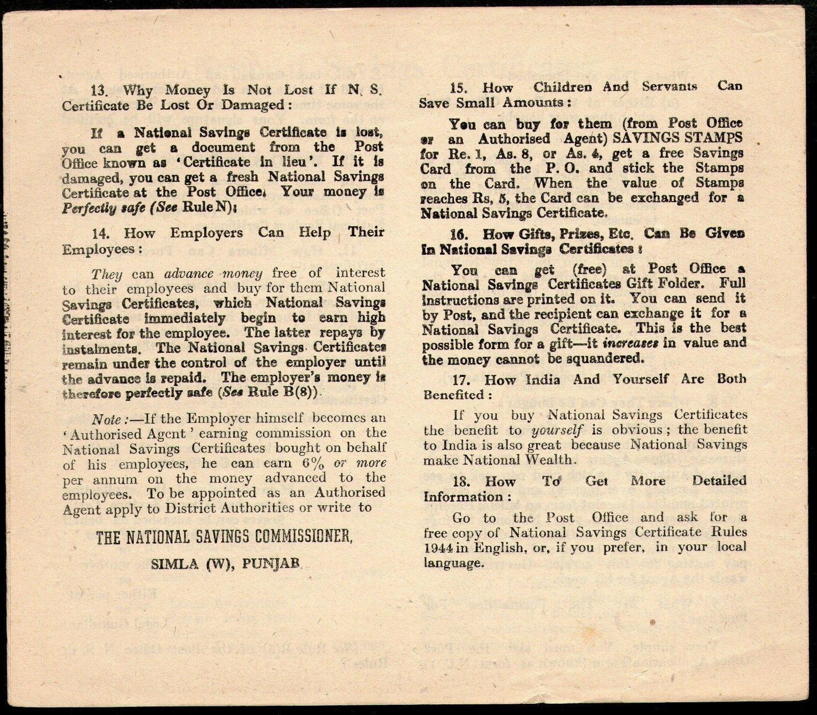 India 1946 national saving bonds advertisement printed on fasimile next 1betcityfo Choice Image