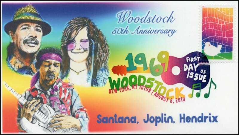 19-149, 2019, Woodstock 50th, Digital Color Postmark, FDC, New York