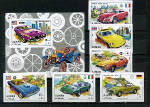AJMAN 1971 Mi#956-961B, Bl.291B OLD SPORT CARS SET OF 6 STAMPS & S/S IMPERF. MNH