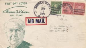 1929, FDC, Edison Coil, Menlo Park, NJ to New York, NY, See Remark (29123)