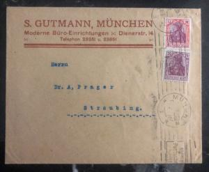 1922 Munich Germany Commercial  Cover To Straubing
