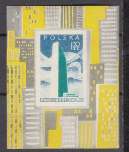 J27380 1957 poland mnh s/s for #761-3 united nations a small toned spot reverse