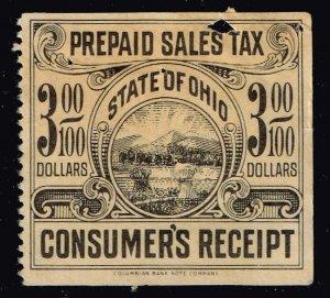 US TAX STAMP $3 STATE OHIO PREPAID SALES TAX PAID STAMP