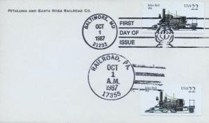 2364 22c JOHN BULL - Petaluma & Santa Rosa RR - U/O