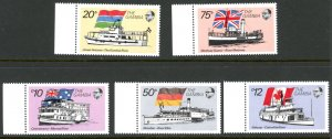 Gambia 1253-1255, 1260-1261 River Boats Flags  MNH mint      (Inv 001412.)