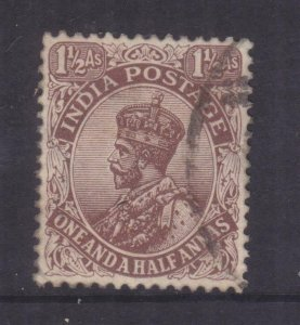 INDIA, 1921 KGV, Large Star, 1 1/2As. Chocolate, used.