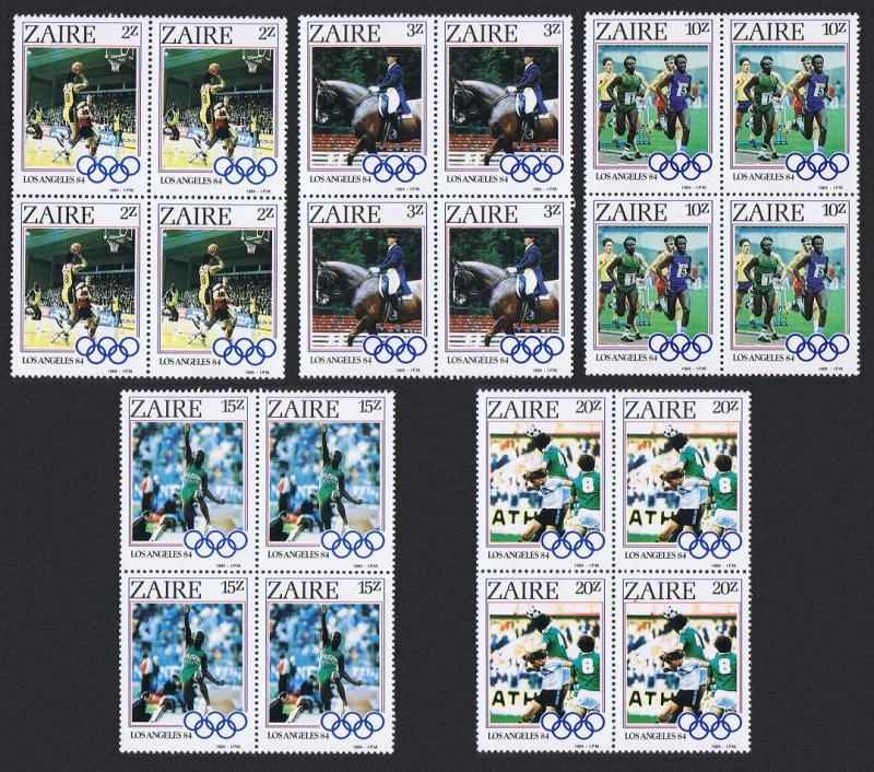 Zaire Olympic Games Los Angeles 4v in Blocks of 4 SG#1195-1199 SC#1154-1158