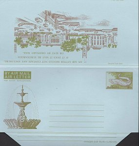 BARBADOS 45c Fish / fountain aerogramme unused..............................K276
