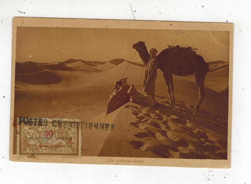 1920s Morocco RPPC postcard Cover Camel and Sand Dunes