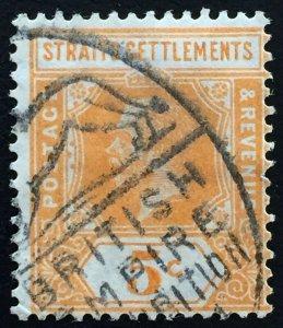 MALAYA STRAITS SETTLEMENTS 1922 KGV 5c British Empire Exhi postmark SG#225 M2147