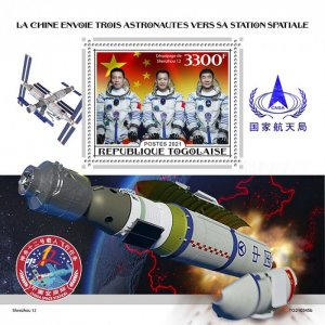 TOGO - 2021 - Chinese Astronauts - Perf Souv Sheet - Mint Never Hinged