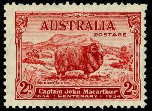 AUSTRALIA SG150, 2d carmine-red DIE A, UNMOUNTED MINT.