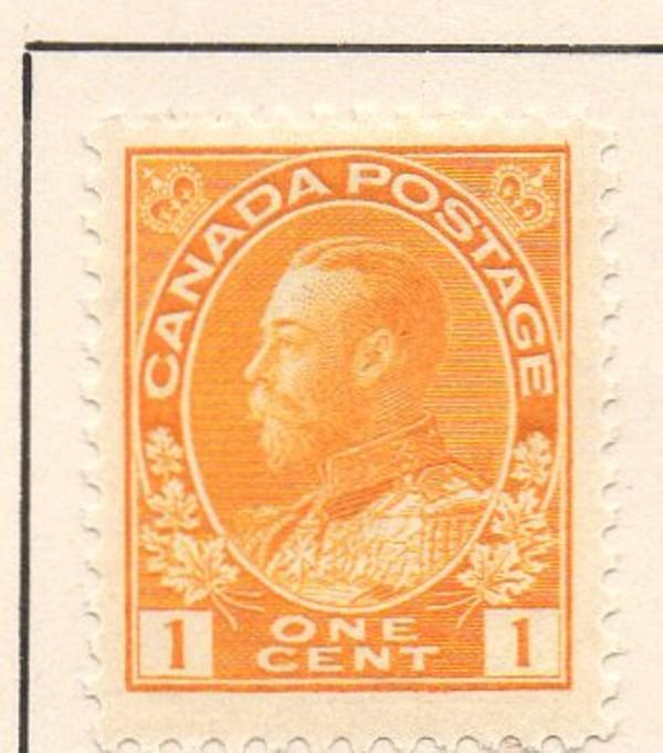 Canada Sc 105 1922 1c orange yellow GV Admiral issue stamp mint