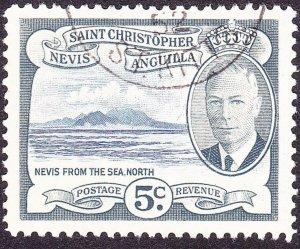 ST CHRISTOPHER NEVIS & ANGUILLA 1952 KGVI 5cBright Blue & Grey SG98FU