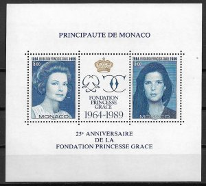 1989 Monaco 1697 Princess Grace Foundation 25th Anniv. MNH S/S