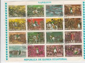 Republic De Guinea Ecuatorial 1974 Napoleon War Scenes Stamps Sheet ref R 17512