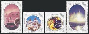 Vanuatu 507-510,511,MNH.Michel 821-824,Bl.13. Recovery of Apollo 11 crew,1989.