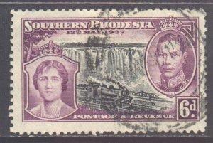 Southern Rhodesia Scott 41 - SG39, 1937 Coronation 6d used