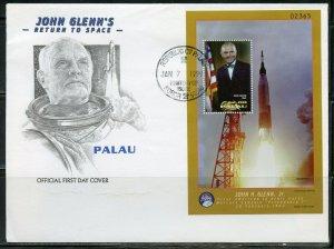 PALAU 1999 JOHN GLENN RETURNS TO SPACE SET OF TWO SOUVENIR SHT  FIRST DAY COVERS