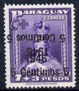 Paraguay 1946 surcharged 5c on 7p + 3p violet with surch ...