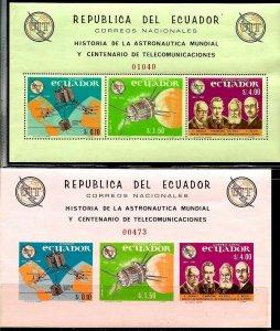 #978 ECUADOR 1966 SPACE COSMOS SATELITS,UIT CENT S/S PERF+UNPERF Mi BL14-5 MNH