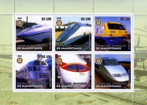 Mauritania 2002 Trains Locomotives Sheet (6) Perforated mnh.vf
