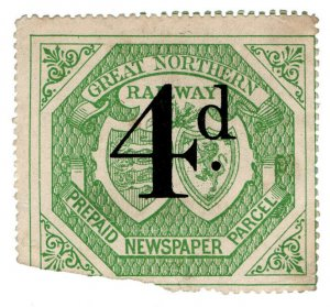 (I.B) Great Northern Railway : Newspaper Parcel 4d (large format)
