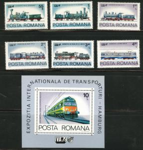 ROMANIA Scott 2933-39 MNH** 1979 Electric Train set